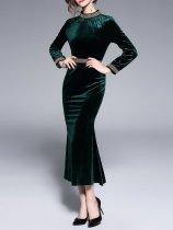 Dark Green Velvet Standing Collar Dress