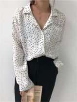 Loose wave point small lapel shirt