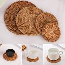 1PC Round Natural Rattan Coasters Bowl Pad Handmade Insulation Placemats Table Padding Cup Mats Kitchen Decoration Accessories