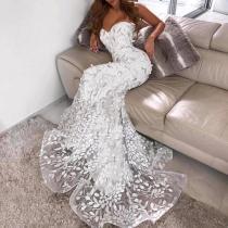 Elegant Sexy Sleeveless Tube Top Fishtail Evening Dress