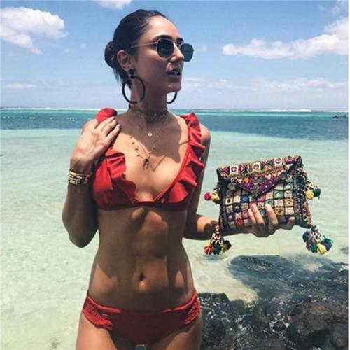 Ruffle Tropical Bikini Set