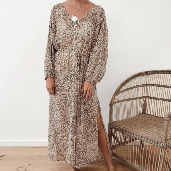 Elegant V-Neck Print Long Sleeve Maxi Dress