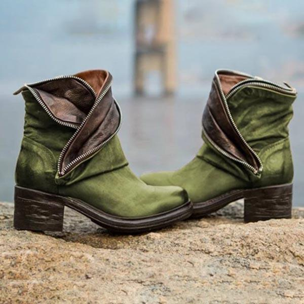 Fashion Slip-on Round Toe Ankle Boots