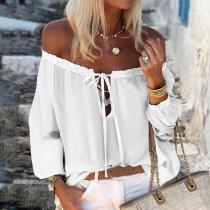 Beach Lead Long Sleeve Pure Color T-Shirt