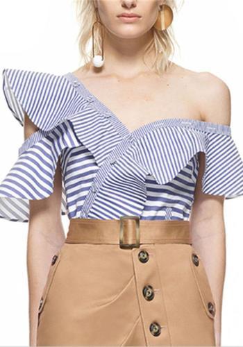 Ruffled edge asymmetrical slanted collar shoulder stripe shirt