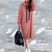 Casual Fashion Youth Loose Plain Long Sleeve Long Hoodie Top