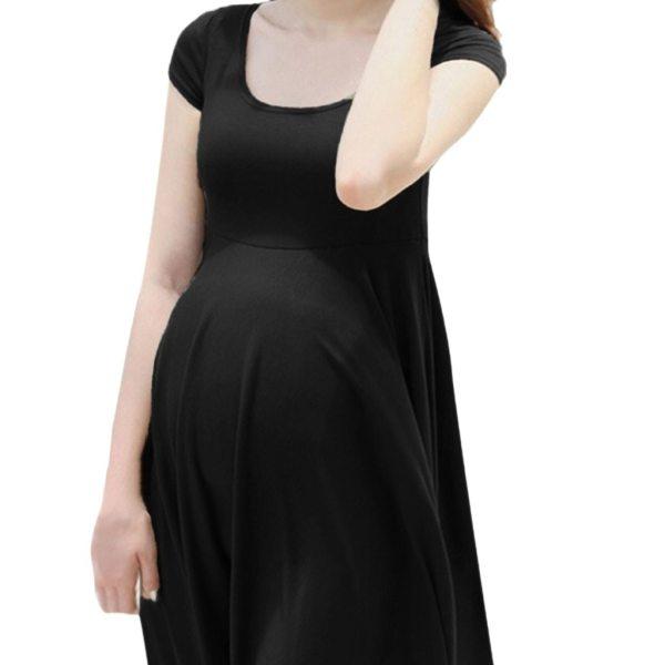 New Fashion Women Pregnant Maternity Nursing Solid Breastfeeding Summer Daily Maternity Dress
