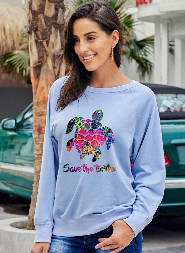 Ocean Turtles Round Neck Long Sleeve Sweatshirt