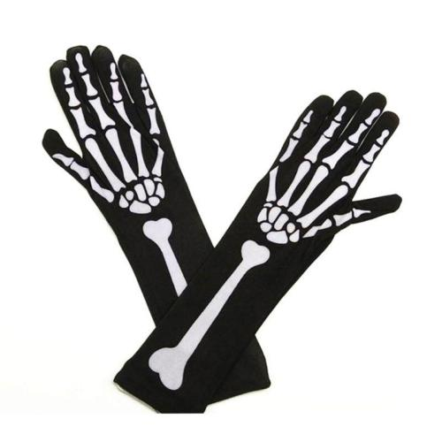Womens Halloween Cosplay Skull Skeleton Bone Gloves Thigh High Stockings Socks