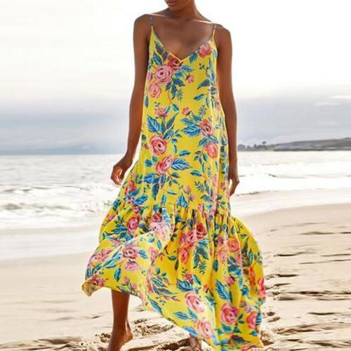 V Collar Strap Splice Print Dress