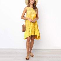 Summer Dot Printed A-Line Ruffle Mini Dress