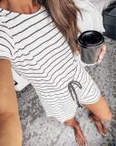 EBUYTIDE Casual Round Neck Short Sleeve Striped Jumpsuit