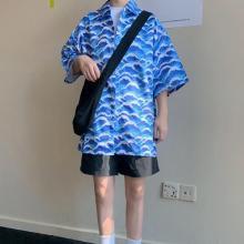 Women Beach Style Wave Print Blouse Short Sleeve Turn-down Collar Loose Beach Tops