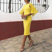 Elegant Backless Short Sleeve Bodycon  Dress