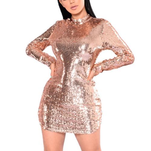 Round Neck Long Sleeve Halter Sequin Zip Dress