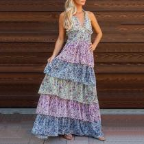 Sweet High-Waist Bare Back Floral Pattern Belted Dress