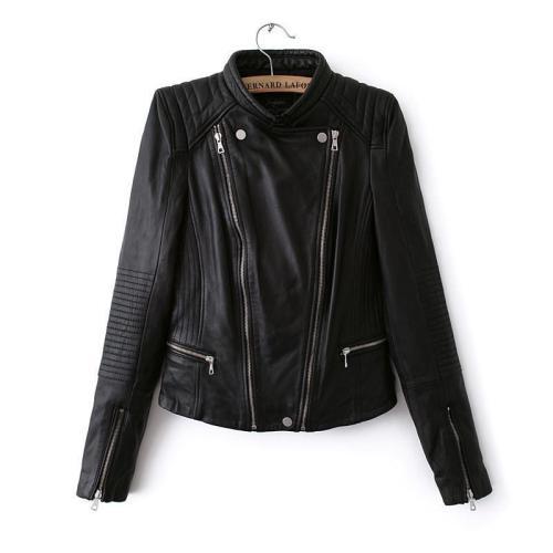 Double Zipper Stand Collar PU Crop Slim Jacket
