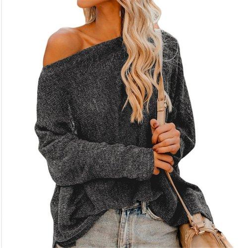 Slanted Shoulder Long Sleeve Knitting Sweater