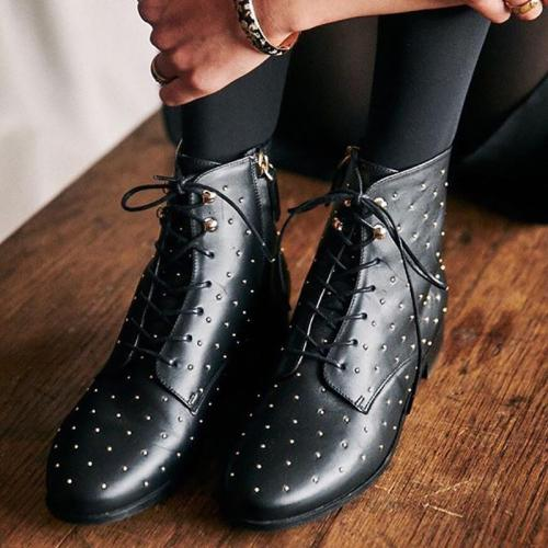 Women's Casual Studded Lace Up Boots
