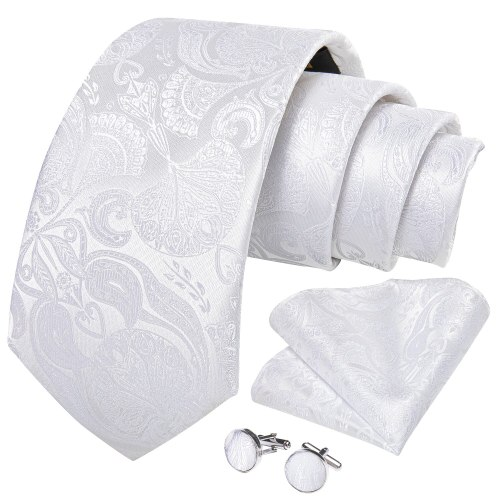 Fashion 8cm Neckties Men White Floral Paisley Silk Jacquard Woven Wedding Party Tie Pocket Square Cufflinks Ring 4pc Set EBUYTIDE