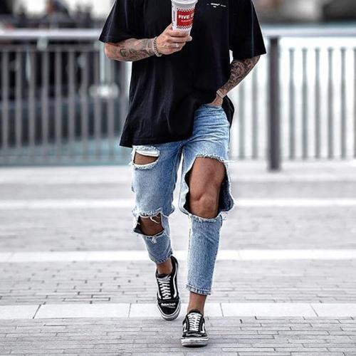 Men's Fashion Casual Big Broken Hole Jeans