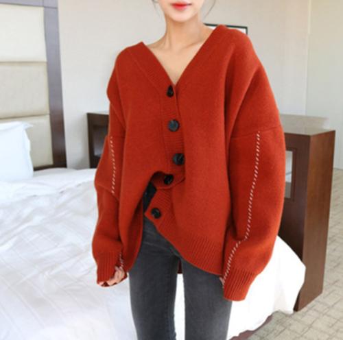 Casual V Neck Loose Pure Colour Sweater