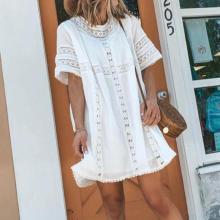 Simple White Round Neck Short Sleeve Loose Mini Dress