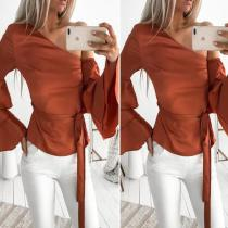 Temperament Oblique Shoulder Horn Long Sleeve Blouses