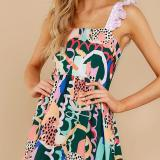 Fashion suspender print retro dress