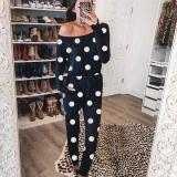 EBUYTIDE Casual Black Round Neck Long Sleeve Slim Fit Printed Jumpsuit