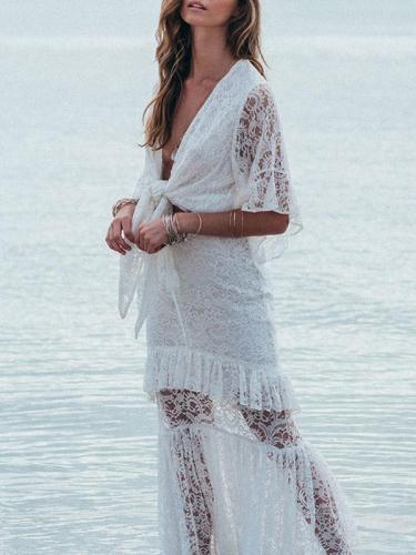 Lace Split-joint Bandage Maxi Dress