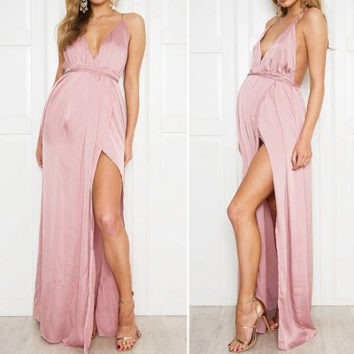 Womens Maternity Gown Sexy  Long Sleeve Solid Color High Waist Open Back Stitching Dress Pregnancy Dress Summer