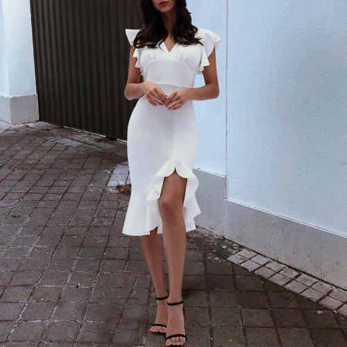 Sexy White Fishtail Sleeveless Bodycon Dress