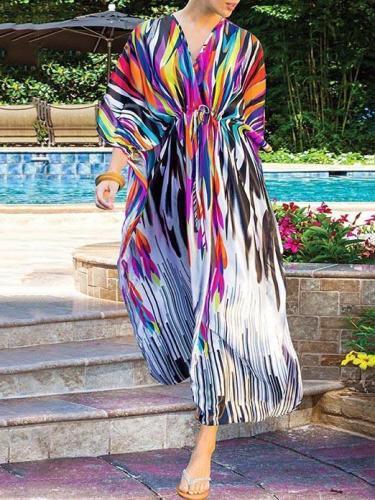 Plus Size Printed Vacation Beach Dress