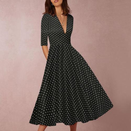 V-Collar Sleeveless Dot Print Skater Dress
