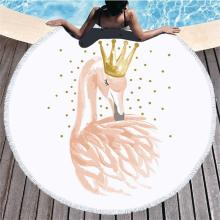 Flamingo Tassel Round Bath Towel Beach Towel Microfibre Travel Compressed Bathroom Towels Bath Towels for Adults Picnic Blanket