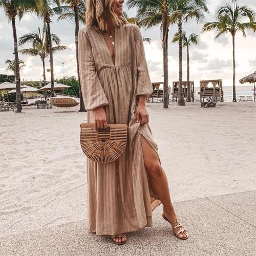 Sexy Deep V Neck Striped Long Sleeve Casual Maxi Dress