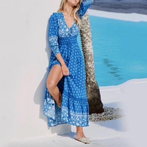 Stylish Beach Holiday Print V-neck Stitching Casual Maxi Dress