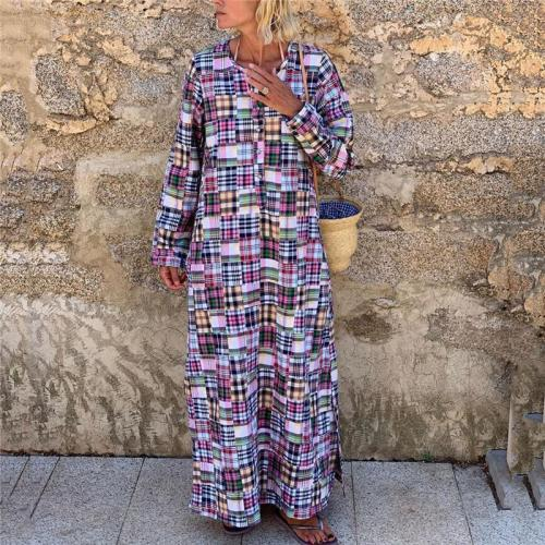 New Fashion Plaid Long Sleeve Casual Maxi Dress
