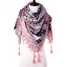 Fashion Ethnic Scarf Women Shawls Floral Print Stoles Triangle Bandana Luxury Brand Kerchief Scarves Female Foulard Dropshipping