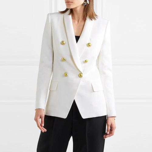 Fashion Blazers Coats Women 2020 Autumn Winter Elegant Long Sleeve Double-Breasted Metal Lion Buttons Slim Office Suit Outerwear