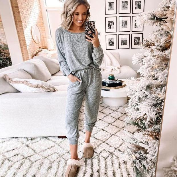 EBUYTIDE Casual Solid Color Long Sleeve Lounge Jumpsuit