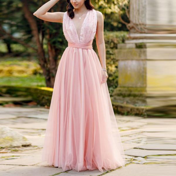 Sexy Deep V Sleeveless Lace Evening Dress