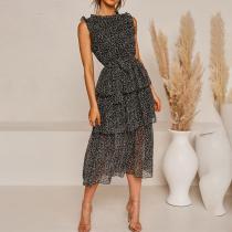 Fashionable Sleeveless Layered Print Dress