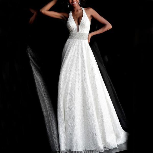 Elegant Fashion Deep V Halter Backless Evening Dress