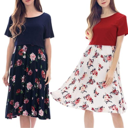 Maternity Clothes For Pregnant Maternity Dresses Women Pregnant Maternity  Nursing Solid Breastfeeding Summer  Maternity Dress