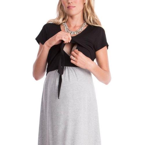 Womens Dress Maternity Mother Splice Bandages Pregnants Nursing Baby For Maternity Pajamas Breastfeeding Dress