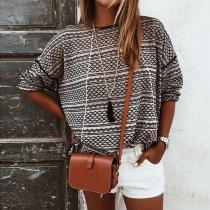 Casual Round Neck Print Long Sleeve Knit T-shirt