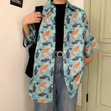 Fashion Fish Print Blouses Summer Female Short Sleeve Casual Loose Shirts