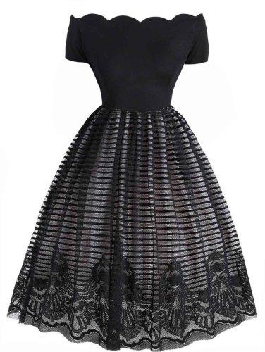 1950s Mesh Patchwork Off Shoulder Dress